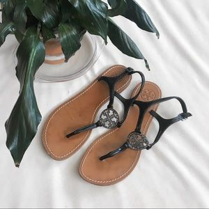 Authentic Tory Burch Gunmetal Violet Thong Sandals